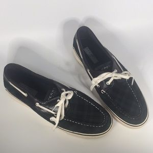 Sperry top-sider plaid 9.5M green black boat shoe